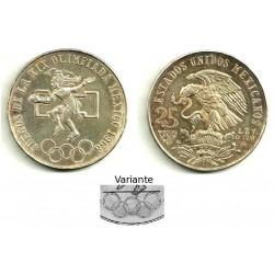 (479.2) Estados Unidos Mexicanos. 1968. 25 Pesos (EBC) (Plata)