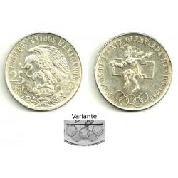 (479.2) Estados Unidos Mexicanos. 1968. 25 Pesos (EBC) (Plata) VARIANTE