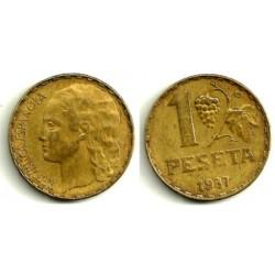1937 1 Peseta (MBC-)