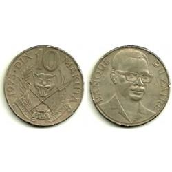 (7) Zaire. 1975. 10 Makuta (MBC-)