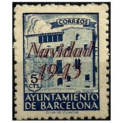(54) Exposición Internacional de Barcelona. 1943. 5 Céntimos. Sobrecarga NAVIDAD 1943