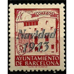 (53) Exposición Internacional de Barcelona. 1943. 5 Céntimos. Sobrecarga NAVIDAD 1943