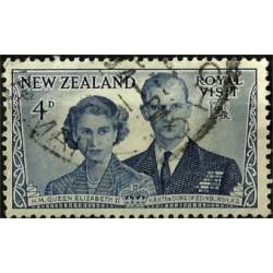 (287) Nueva Zelanda. 1953. 4 Penny. Visita Royal (Usado)