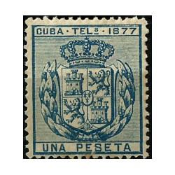 Cuba Colonial (Telégrafos). 1877. 1 Peseta. Escudo (Nuevo, sin goma)