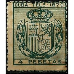 Cuba Colonial (Telégrafos). 1879. 4 Pesetas. Escudo (Nuevo)