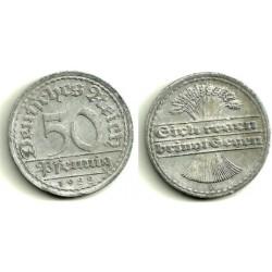 (27) Imperio Alemán (Weimar). 1922(A). 50 Pfennig (MBC+)