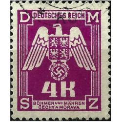 (O23) Bohemia y Moravia (Ocupación Alemana). 1943. 4 Koruna. Escudo (Usado)