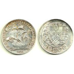 (582) Portugal. 1937. 10 Escudos (MBC) (Plata)