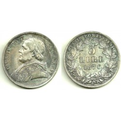 (1380) Ciudad del Vaticano. 1870. 5 Lira (EBC) (Plata)