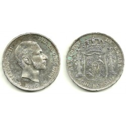 Alfonso XII. 1885. 50 Centavos (SC) (Plata) Ceca de Manila