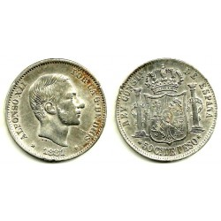Alfonso XII. 1881. 50 Centavos (EBC-) (Plata) Ceca de Manila
