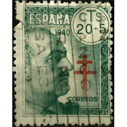 (937) 1940. 20 + 5 Centimes. Pro Tuberculosos (Usado, con rotura)