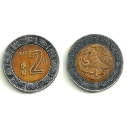(604) Estados Unidos Mexicanos. 2012. 2 Pesos (MBC)