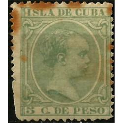 (145) Cuba Colonial. 1891. 5 C. de Peso (Usado)
