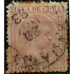 (148) Cuba Colonial. 1891. 10 C. de Peso (Usado) Rotura