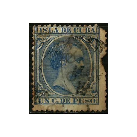 (134) Cuba Colonial. 1894. 1 C. de Peso (Usado) Rotura