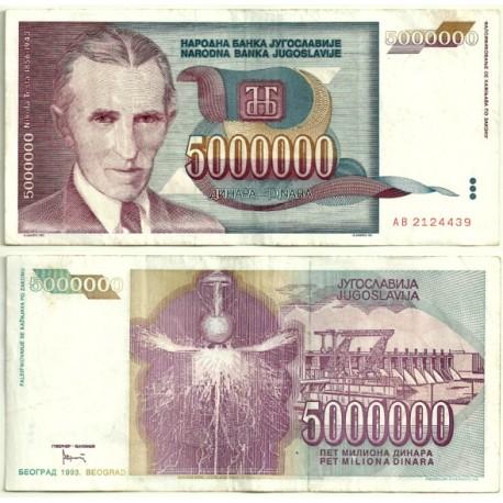 (121) Yugoslavia. 1993. 5 Million Dinara (MBC)
