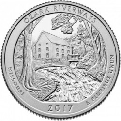 Estados Unidos de América. 2017(D). Quarter Dollar (SC) Ozark Riverways