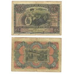 Billete de 25 Pesetas de 1907 (RC). Sin Serie.