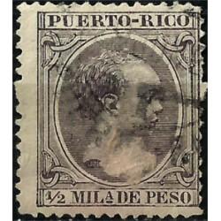 Puerto Rico. 1890-97. ½ Milésima de Peso. Alfonso XIII (Usado)