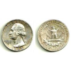 (164) Estados Unidos de América. 1964. Quarter Dollar (MBC) (Plata)