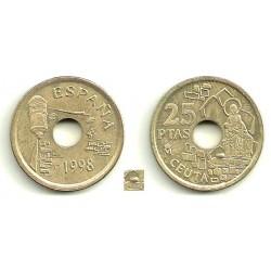 España. 1998. 25 Pesetas (EBC) Exceso de metal