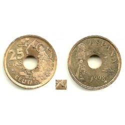 España. 1998. 25 Pesetas (SC) Exceso de metal