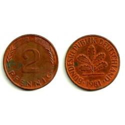 (106a) Alemania. 1981(D). 2 Pfennig (MBC-)