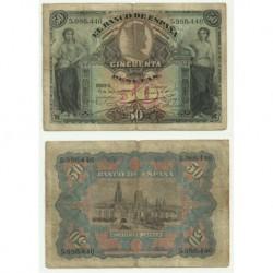 Billete de 50 Pesetas de 1907 (BC). Sin serie.