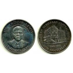 (24) Estados Orientales Caribeños. 1993. 2 Dollars (SC)