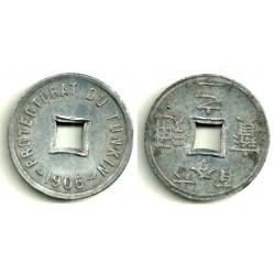 (1) Tonkín (Protectorado Francés). 1905. 1 / 600 Piastres (MBC+)