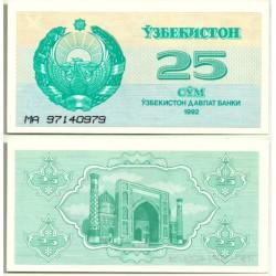 (65) Uzbekistán. 1992. 25 Sum (SC)