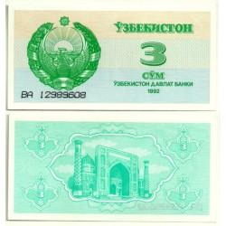 (62a) Uzbekistán. 1992. 3 Sum (SC)