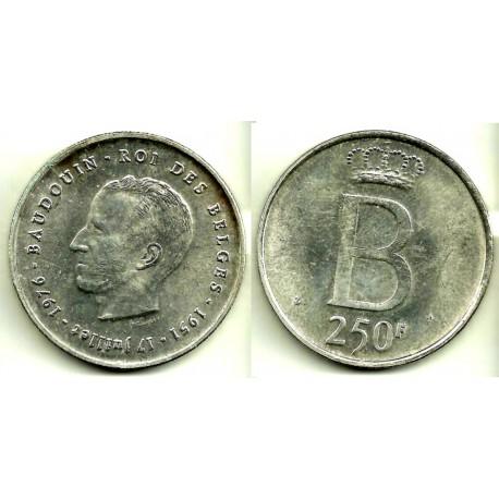 (157.1) Bélgica. 1976. 250 Francs (EBC) (Plata)