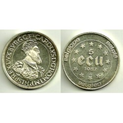 (166) Bélgica. 1987. 5 Ecu (SC) (Plata)