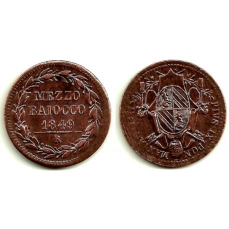 (1340) Ciudad del Vaticano. 1849IIIIR. ½ Baiocco (EBC-)