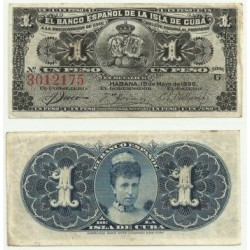 Billete de 1 Peso de 1896 (MBC).