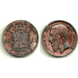 (26) Bélgica. 1886. 50 Centimes (BC-) (Plata)