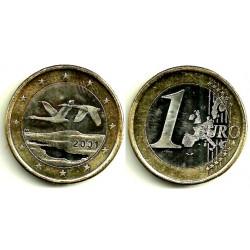 Finlandia. 2001. 1 Euro (SC) Exceso de metal en fecha