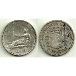 1869*(18-69) 2 Pesetas (BC+)
