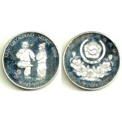 (61) Corea del Sur. 1988. 5000 Won (Proof) (Plata)