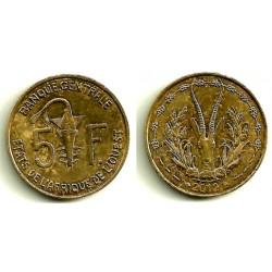(2a) Estados África Oeste. 2012. 5 Francs (MBC)