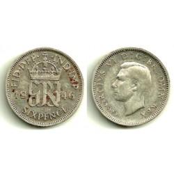 (852) Gran Bretaña. 1946. 6 Pence (BC+) (Plata)