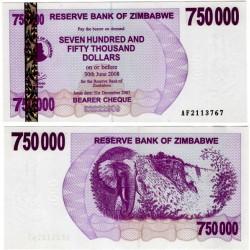 (52) Zimbabue. 2007. 750.000 Dollars (SC)