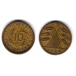 (40) Imperio Alemán (Weimar). 1924(J). 10 Pfennig (MBC)