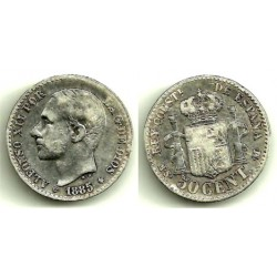 Alfonso XII. 1885*(8-6). 50 Céntimos (BC-) (Plata) Ceca de Madrid MS-M