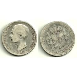 Alfonso XII. 1876*(---7-). 1 Peseta (BC-) (Plata) Ceca de Madrid DE-M