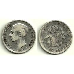 Alfonso XII. 1876*(1--7-). 1 Peseta (BC) (Plata) Ceca de Madrid DE-M