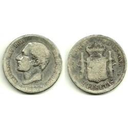 Alfonso XII. 1883*(-----). 2 Pesetas (RC) (Plata) Ceca de Madrid MS-M