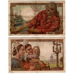 (100a) Francia. 1942. 20 Francs (BC+) Pequeña rotura y escritura